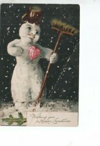 VINTAGE TUCK CHRISTMAS GREETING postcard: SNOWMAN WITH BRUSH & JUG ON HEAD 1905