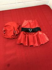 Build A Bear Girl 2Pc Outfit Red Satin Dress Pleated Skirt Black Bow under pants