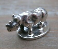 A Very Sweet Sterling Silver Miniature Study of A Rhino / Rhinoceros