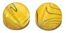 "3/4"" (20mm) YELLOW & BLACK STRIPED SHELL CUFF LINKS (039a)"