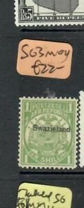 SWAZILAND  (P1509B)  ON TRANSVAAL 1/-     SG 3  MOG