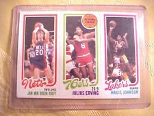 TOPPS 1980/81 Basketball Card 139 Magic Johnson 174 Erving 162 Van Breda Kolff