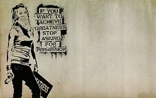 Banksy Graffiti Quote - Women Achieve Greatness Large Canvas Picture 20x30Inch