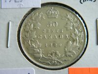 1929 Canada Silver 50 Cent Piece-George V--Lower Mintage-19-416