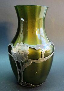 Rare LOETZ GRUN METALLIN Silver Overlay Vase  c. 1900  Art Nouveau Glass +