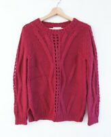 Benedetta B Sz S Maroon Wool Alpaca Mix Cable Knit Sweater Jumper Made In Italy