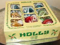 Vintage HOLLY Christmas Red and Green Glass Ornaments Box Set of 8 Made USA
