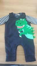JoJo Maman Bebe dinosaur dungarees with matching shoes 0-3 months baby boy - new