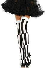 Woven Opaque Black/White Striped Optical illusion Thigh High Stockings Halloween