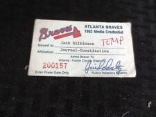 1992 Atlanta Braves Media Press Pass Credential