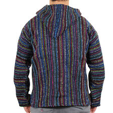 Mexican Baja Hoodie Surf Pullover Jacket Multi Colour Unisex Size Large Drug Rug