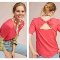 Meadow Rue Anthropologie Women's Size XS Pink Knit Tee Shirt Top Bow Tie Back