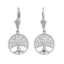 14K White Gold Tree of Life Openwork Drop / Dangle Leverback Earrings