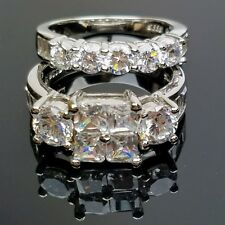 Sterling Silver Princess Cut CZ Engagement Wedding Promise Ring Set Size 8