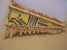1950s Vintage Decorated Handmade Zamopoña Bamboo Flute - Ecuador