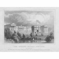Londres le Queen's Palace à Pimlico-ANTIQUE PRINT c1840