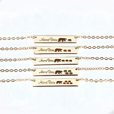 New Engraved Mama Bear Necklaces Bar Pendant Necklace Monogram Mother's Day Gift