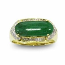 Rare Jade 18x7 mm  With .56 ctw Diamond Ring in 18K Yellow gold One of a Kind