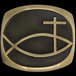Bronze Christian Cross Ixoye Jesus Ichthus Fish Gift SLK 70 Vintage Belt Buckle