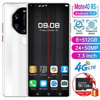 "4G Face ID 7.3"" Android 10.0 Unlocked Dual SIM 8+512GB&128GB TF Card SmartPhone"