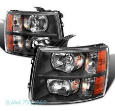 07-13 CHEVY SILVERADO 1500/14 2500/3500 HD CRYSTAL HEADLIGHTS LAMPS BLACK/AMBER