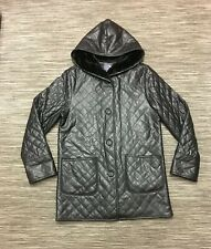 Outer Layer Women's Hooded Faux Fur Lined Winter Waterproof Quilted Coat Black M
