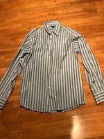 Elliot Black White Stripe Long Sleeve Dress Shirt Size Medium