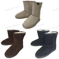 "Womens Winter Boots Fashion Suede Leather 8"" Shearling Warm Fur Snow Shoes Sizes"