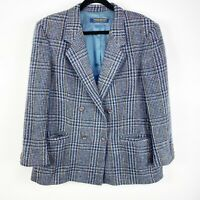 Brooks Brothers Women Size 16 Wool Houndstooth Double Breasted Blazer Plaid