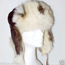 Cappello Pelliccia LAPIN bianco marrone aviatore uomo donna colbacco collo E0875