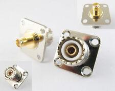 UHF Female Jack 4 Hole Flange to SMA Female Jack Straight Adapter RF Connector