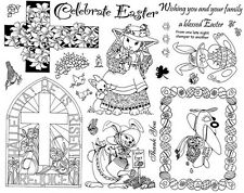 Unmounted Rubber Stamps Sheets, Easter Stamps, Bunny, Eggs, Cross, Christian