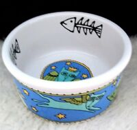 Cat Food Dish Stoneware Bowl Flying Feline Ursula Dodge Crazy Cat Lady Decor
