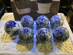 "(7) Decorative~Blue & White~Round Orbs/Carpet Balls~4""H~All Different~FREE SHIP~"