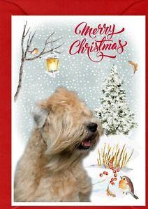 "Soft Coated Wheaten Terrier Dog A6 (4"" x 6"") Christmas Card - Blank inside"