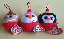 3 Ty Beanie Cupcake Coco, Flakes, Gelato Ice Cream Sundae Ornaments Party  NEW