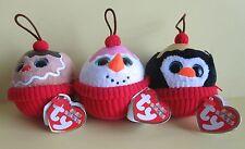 3 Ty Beanie Cupcake Coco, Flakes, Gelato Ice Cream Sundae Ornaments Party  NEW
