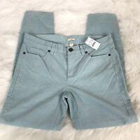 NEW J. Crew Stretch Mint Green Vintage Toothpick Cord Corduroy Pants Women's 28