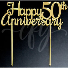 Happy 50th Anniversary Wedding Cake Topper Acrylic Rose Gold Silver Mirror