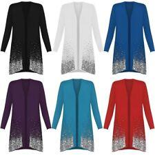 Ladies Christmas Sparkle Sequin Open Front Long Sleeve Top Plus Size Cardigan