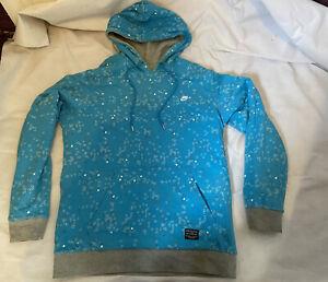 NSW NIKE Reversible Cotton Pullover Hoodie Sweat Zip Pockets Blue / Grey Logo M