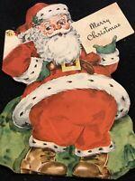 """#2053🌟Vintage 40s """"Merry Christmas"""" Plump Diecut Santa Christmas Card"""