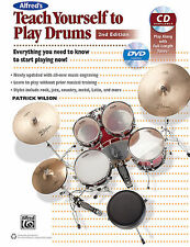 """""""ALFRED'S TEACH YOURSELF TO PLAY DRUMS"""" MUSIC BOOK/DVD/CD BRAND NEW ON SALE!!"""