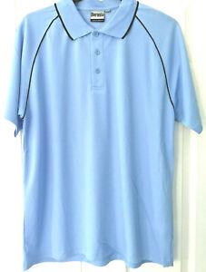 Boronia Light Blue / Navy Trim Men's Cool Dry Polo Shirt - Sizes M/L/XL