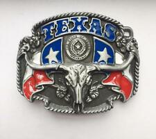 New Texas Flag State Cowboy Longhorn Bull Rodeo Black Belt Buckle Western