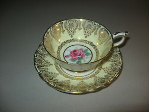 Paragon English Fine Bone China Cup & Saucer Yellow With Red Rose Gold Trim