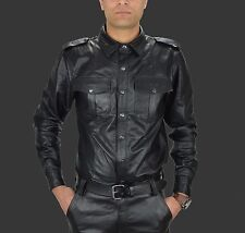 Mens Leather shirt,police style Gay leather shirt,lederhemd,Weste en Cuir,Hemd