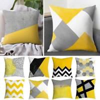 18''Geometric Yellow Cushion Cover Sofa Square Pillow Cases Throw Home Decor Hot