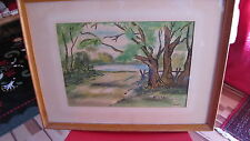 Artist C. Andrew original signed Tree Lined Path Watercolor under glass Framed