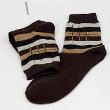 Winter Men Wool Blend Cross stripe Coffee Casual Dress Socks Sports SZ 10-13 o2